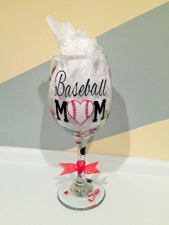 Baseball Mom Wine Glass w/ Decorative Vinyl by PrinterPunch