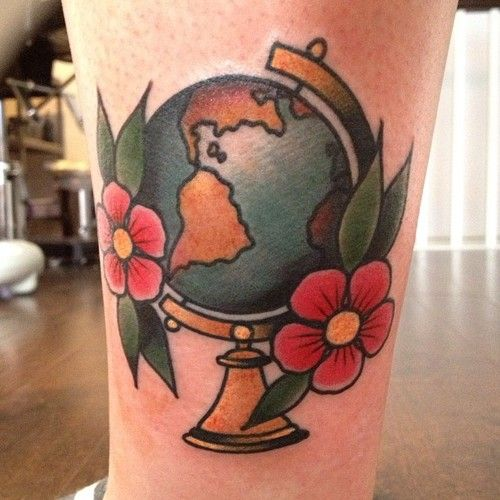 tattoo old school / traditional ink - globe travel (by Cassandra Frances)