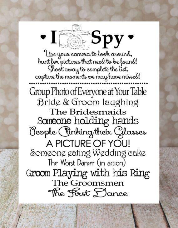 I Spy Wedding Instant Diy Printable Photo Challenge Keepsake Reception 5 X 7 And 4 6