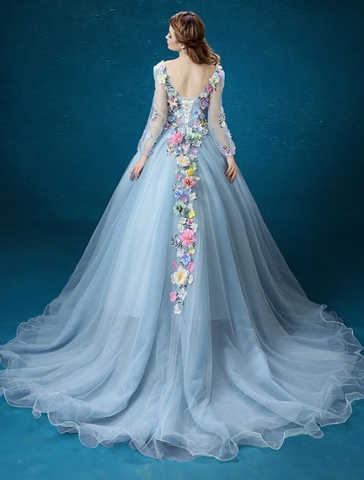 Flower Fairy Dress 2016 Long Sleeves Backless Handmade Colorful Flowers Long Prom Dress - Prom Dresses - Formal Dresses