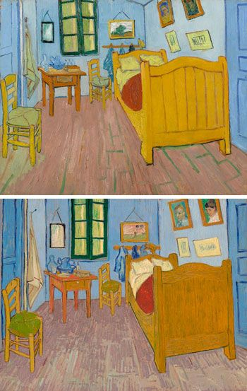 Vincent van Gogh, The Bedroom, 1888, top; The Bedroom, 1889, bottom. FROM TOP: VAN GOGH MUSEUM, AMSTERDAM (VINCENT VAN GOGH FOUNDATION); MUSÉE D'ORSAY, PARIS, SOLD TO NATIONAL MUSEUMS UNDER THE TREATY OF PEACE WITH JAPAN, 1959
