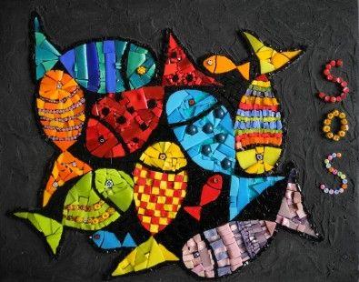 """Tableau mosaïque """"SOS océans""""  : Mosaiques par antigone-mosaique sur ALittleMarket"""
