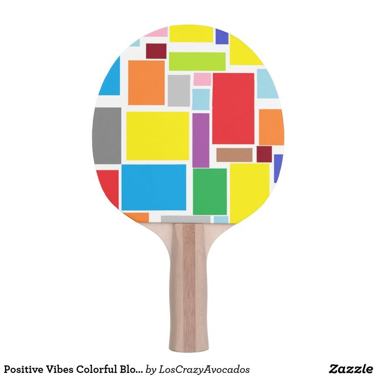 Positive Vibes Colorful Blocks Ping Pong Paddle