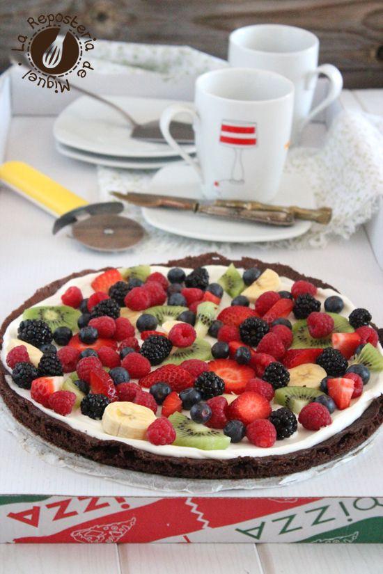 Pizza - Brownie de Frutas ( La Repostería de Miguel )