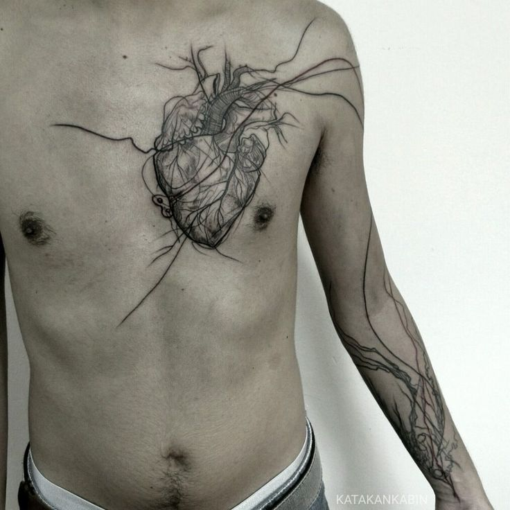 Really neat abstract modern art chest tattoo idea, anatomical heart and veins tattoo ❤️
