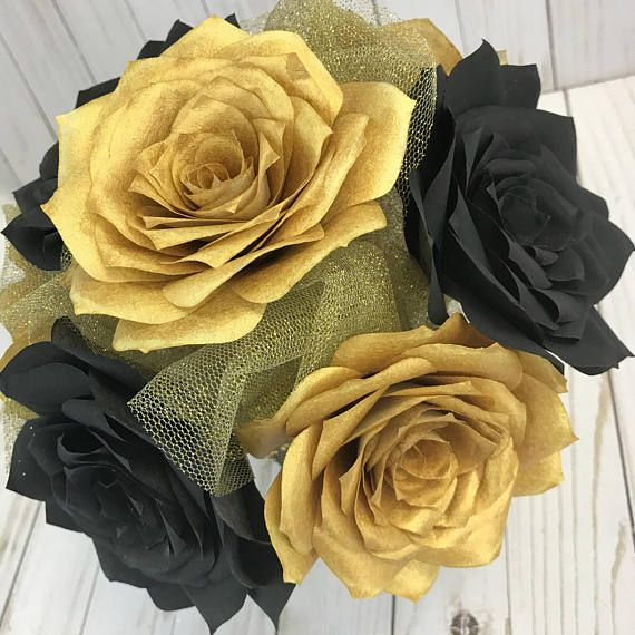 Gold And Black Paper Flower Centerpiece Paper Flower