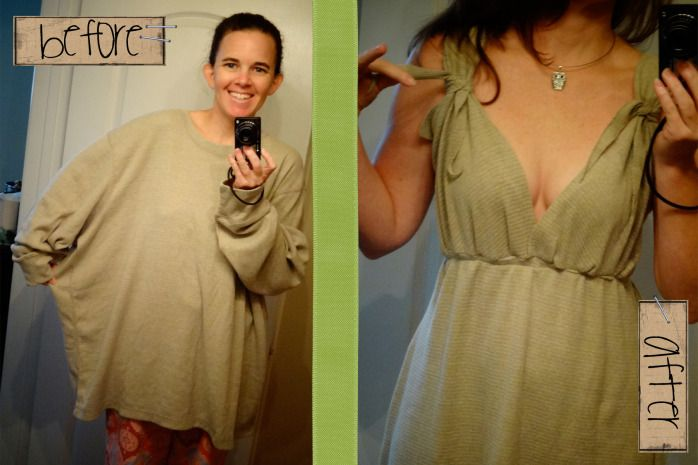 DIY - dress from a giant waffle shirt.