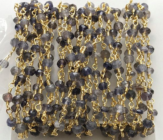 WHOLESALE 5 Feet Iolite Faceted Rondelle Beads in by gemsforjewels