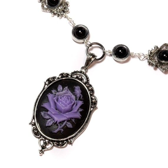 Steampunk Goth Jewelry - Necklace - Black & Purple Rose Cameo - Black Onyx by Catherinette Rings