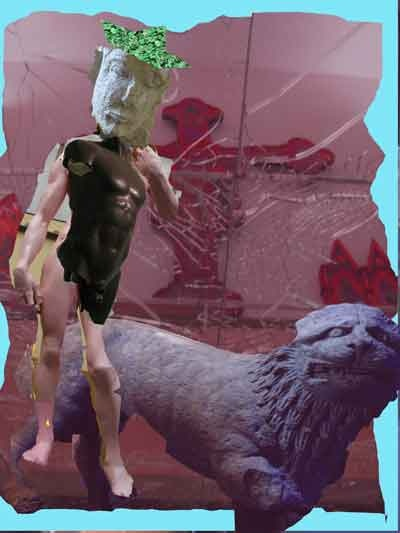Richard Hamilton in Florence  photoshop collage of Florence images