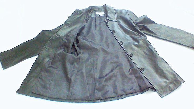 Brooks Brothers Black Lamb Woman's Leather Button Coat / Jacket XS  #BrooksBrothers #BasicCoat