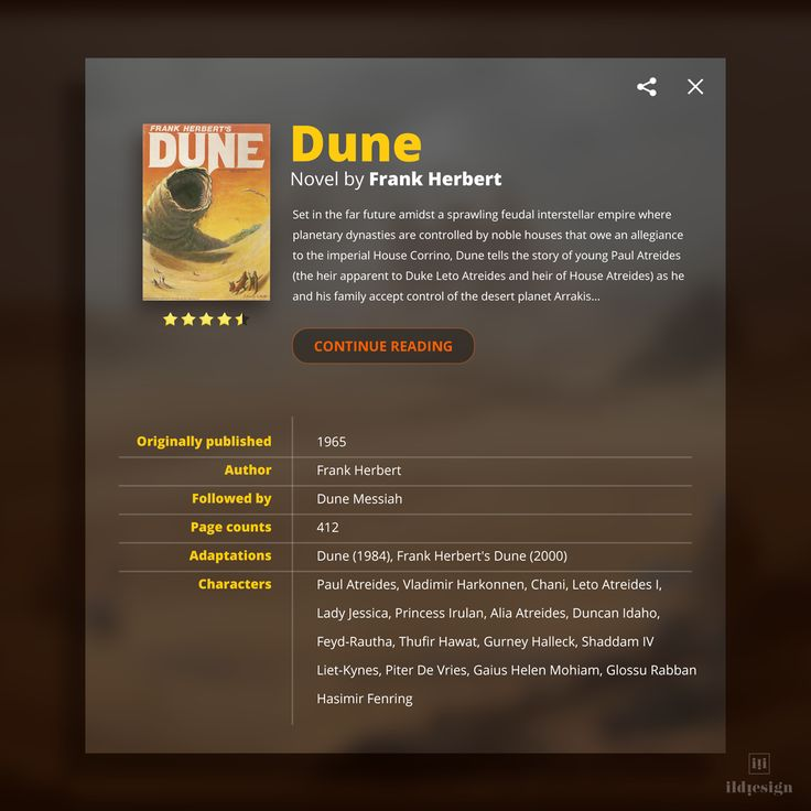 Info Card Dune UI Design