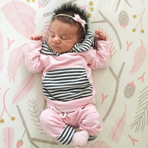 Sweet and Trendy Pink Newborn Take Home Outfit   Find Cute Terrycloth Jogger Outfits for Baby Girls at SugarBabies!!