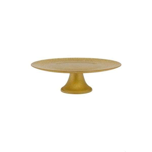 Luigi Bormioli Footed Cake Stand (2.390 RUB) ❤ liked on Polyvore featuring home, kitchen & dining, serveware, gold, vintage cake pedestal, vintage cake stand, vintage cake stands, gold cake stands and footed cake plate