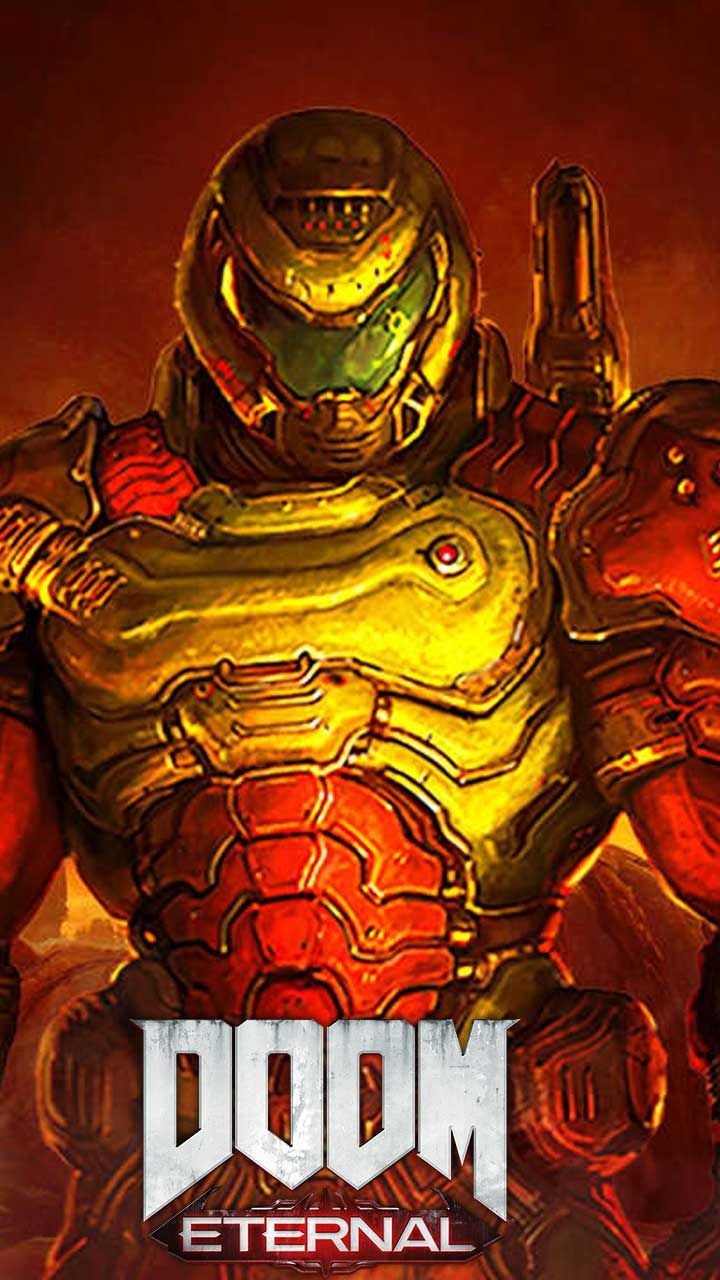Doom eternal wallpaper HD phone backgrounds game logo art