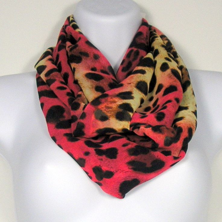 Womens Infinity Scarves Leopard Print Circle Scarf Leopard Print Infinity Scarf Fashion Scarf Chiffon Circle Scarf Chunky Infinity Scarves by LooptheLoop on Etsy New color way for leopard