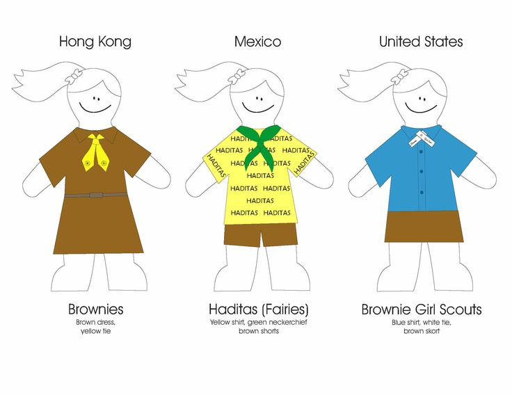 Brownies in Other Countries Colouring Sheets
