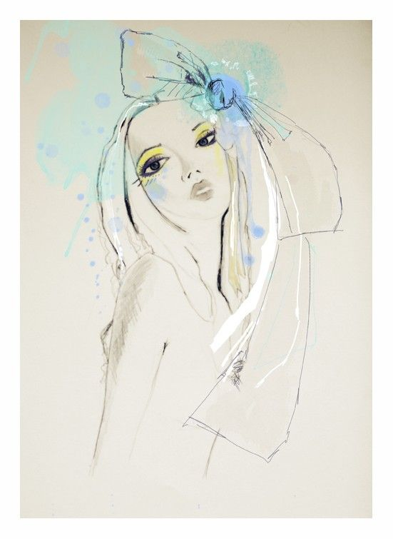 Fashion Illustration, blue, green,  portrait, drawing. $30.00, via Etsy.