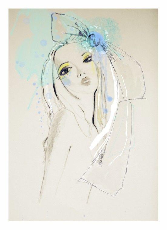 Blue   Lola Donoghue #watercolor #fashion #illustration
