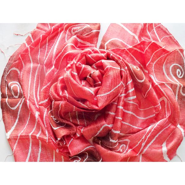 Red Silk Shawl Hand Dyed Handwoven Batik Handmade Wedding Gift Wedding Accessories Light Weight Silk Shawl Natural Pure Raw Silk For Her (€25) found on Polyvore featuring women's fashion, accessories, scarves, red silk scarves, lightweight scarves, lightweight shawl, pure silk scarves and red scarves