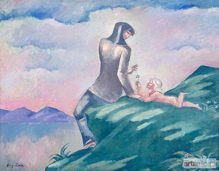 Eugeniusz ZAK ● Kobieta z dzieckiem na brzegu jeziora (ok. 1913 r.?) ●