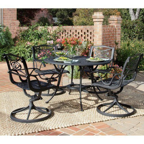 Home Styles 5556-305 Malibu 5-Piece Outdoor Dining Set, Black Finish by Home Styles. $1599.99. Malibu 5-piece outdoor dining set. Measures 21-3/4-inch width by 25-1/2-inch depth by 34-1/2-inch height with seat height measures 17-1/4-inch and arm height measures 24-3/4-inch. Set includes outdoor dining table and four swivel arm chairs. Made of cast aluminum. Comes in a black finish. This malibu 5-piece outdoor dining set includes outdoor dining table and four swivel arm ch...