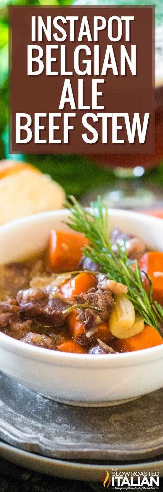 Instant Pot Belgian Ale Beef Stew | This yields meltingly tender beef in a rich, flavorful broth loaded with tasty vegetable and herbs.  It's ready in less than an hour!  Try this easy recipe tonight--perfect for the novice pressure cooker user!  #instantpotbeefstew #instantpotforbeginners