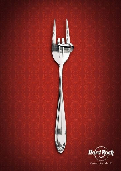 Love the advertisement for Hard Rock Cafe!  Very cool!  Also love the idea of doing something similar with silverware crafts.