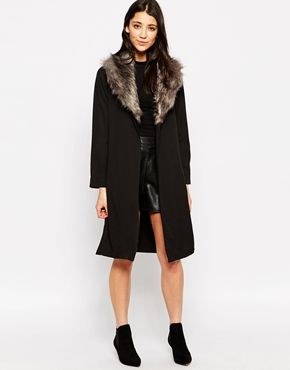 Influence Duster Jacket With Faux Fur Collar