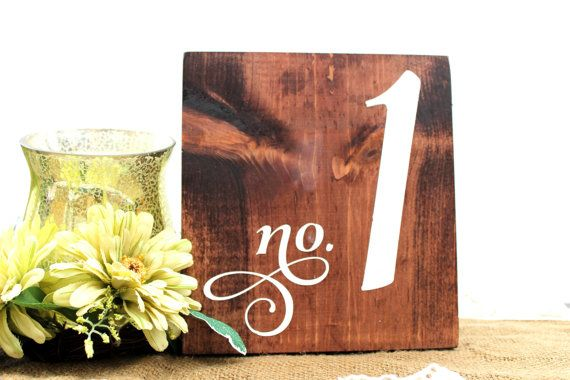 Table Numbers Wood Sign Rustic Wedding by OverTheMoonBridal