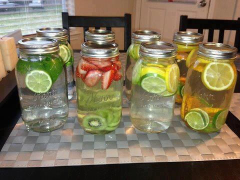Infused waters. Put as much fruit in the water as you like and let it sit for at least 30 mins before drinking (1) green tea, mint, lime-fat burning, digestion, headaches, congestion, breath freshener (2) strawberry, kiwi-cardiovascular health, immune system protection, blood sugar regulation, digestion (3) cucumber, lime, lemon-water  weight management, bloating, appetite control, hydration, digestion (4) lemon, lime, orange-digestion, vitamin C, immune defense, heartburn discard after 48…