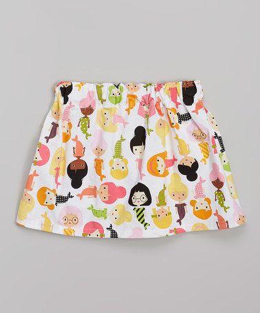 Look what I found on #zulily! White & Orange Mermaid Skirt - Toddler & Girls by sallysarah #zulilyfinds