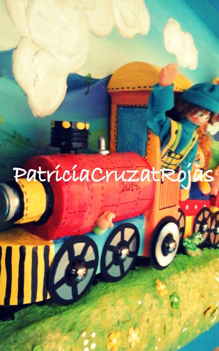 Detalle cuadro en relieve Tren con Animales