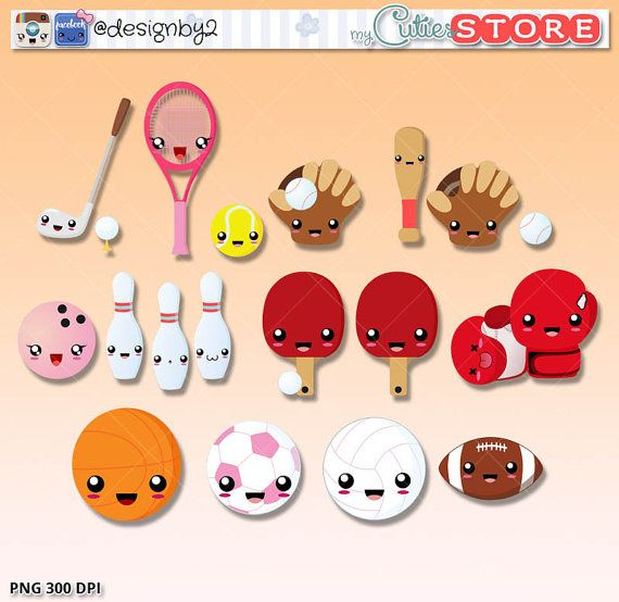 Kawaii sports cuties!. Planner stickers clipart