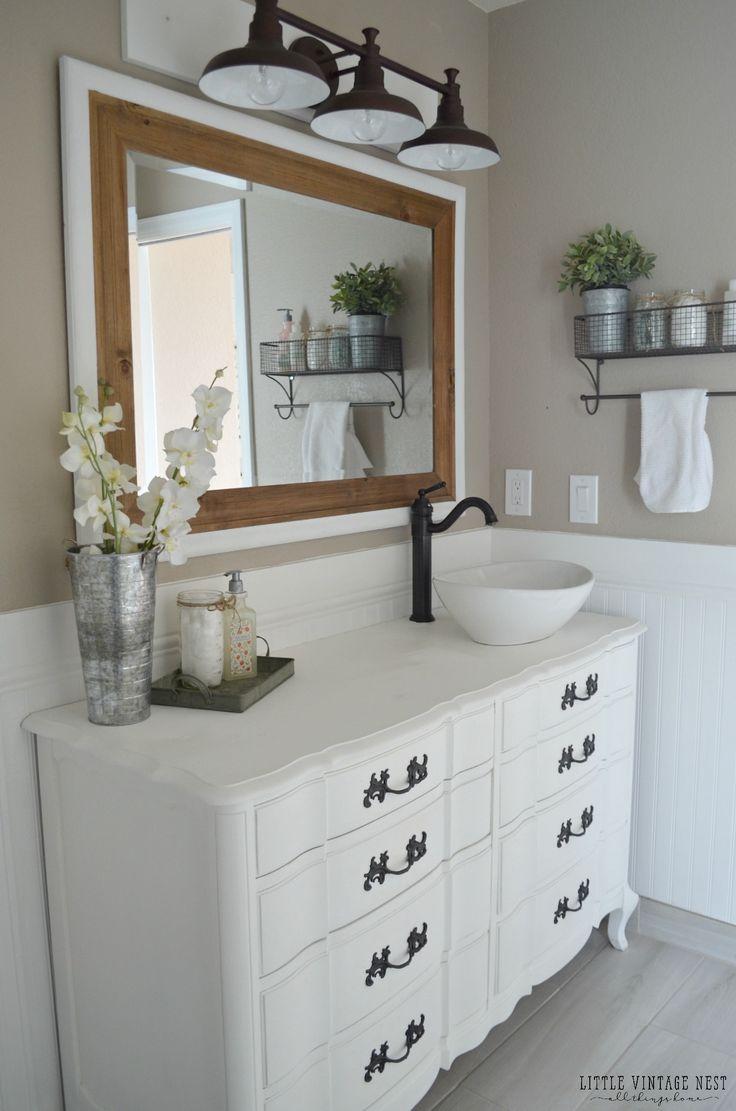Farmhouse Bathroom MakeoverVintage Dresser Vanities