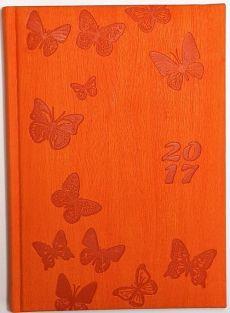 Kalendarz 2017 dzienny CF A5 pomarańczowy Motyle
