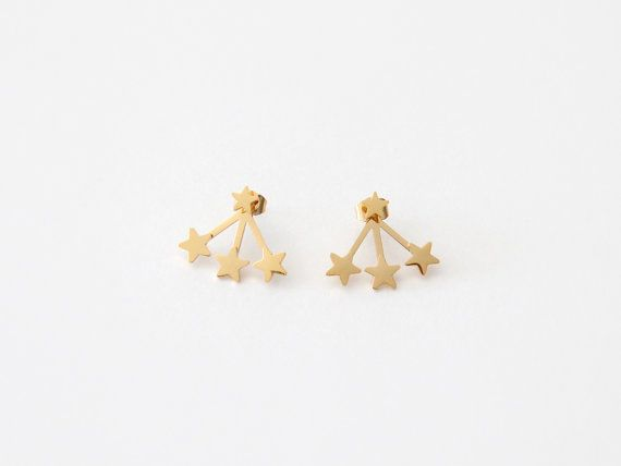 From our new MAIVE by Seoul Little collection Three tiny stars hugging your ear with a star stud on top  Approximately .20 and .25 inch tall stars 18k gold plated, 14k rose gold plated, or surgical steel Hypoallergenic Packaged in a gift ready box   We strive to use the finest quality materials in the industry to create each MAIVE by Seoul Little piece. We are extremely proud of our tried and tested plating process using the thickest layer of beautifully rich 18k gold to ensure your jewelry…