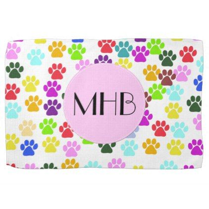 Monogram - Dog Paws Trails - Red Blue Green Hand Towel - kitchen gifts diy ideas decor special unique individual customized