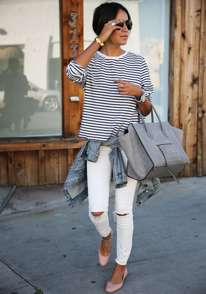 casual outfit inspo - white ripped jeans, simple striped tee, denim jacket + gray bag