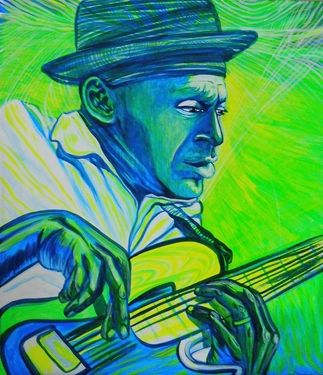 "Saatchi Art Artist Lola Lonli; Painting, ""Marcus Miller is playing for Indigo people"" #art"