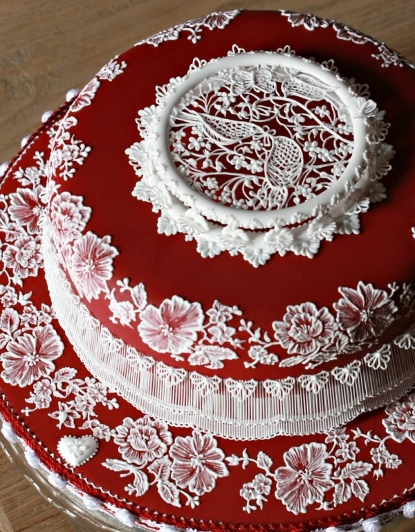#KatieSheaDesign ♡❤ ❥ Ruby Cake - Absolutely Stunning!! Amazingly Beautiful!!  Incredible Work!!  -- More pics @ link