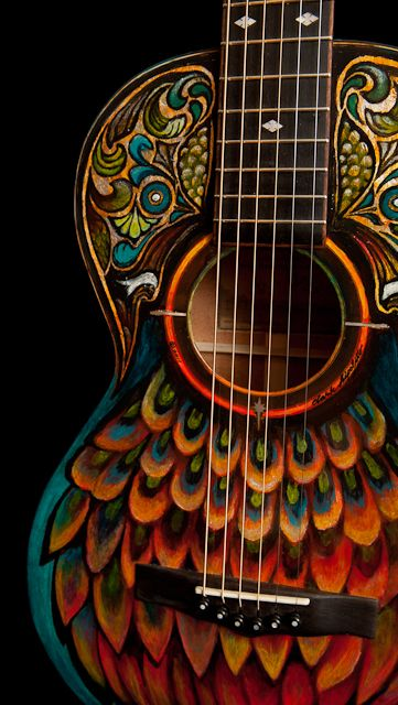 Handpainted Lichty Parlor Guitar, crafted by NC custom guitar builder/luthier Jay Lichty of Lichty Guitars. Artwork by Clark Hipolito