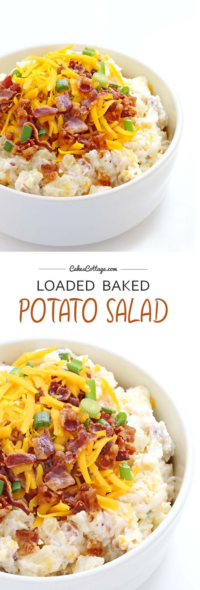 "Loaded Baked Potato Salad – or what I like to call a ""ultimate summer BBQ salad.""  Everything you love about loaded baked potatoes - tender cubes of potato, sour cream, mayo, crispy bacon, Cheddar cheese, and green onions- to create the most amazing summer salad ever!"