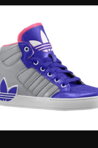 Blue and pink Adidas shoes
