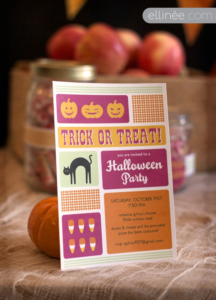 Retro Halloween Party Invite (check out matching party kit (free DIY download))