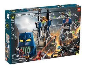 LEGO BIONICLE® Piraka Stronghold  by LEGO. $294.99. Includes special light brick and magnifying glass for laser effect. Send zamor spheres down the track to the tower launcher. Giant Piraka mask features huge glow-in-the-dark fangs. Includes 6 mini Toa Inika, 6 mini Piraka figures, 6 green and 2 blue zamor spheres. All-new mini Toa and Piraka have cool masks & moving parts. Amazon.com                Explore the elaborate Bionicle storyline with the Lego Bionicle Pi...