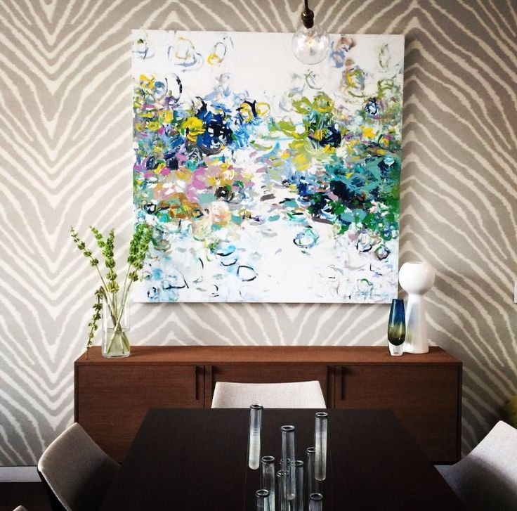 Original Art Abstract Dining Room In Chicago Home