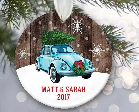 Volkswagon Bug Ornament Vw Car With Christmas Tree On Top Vintage Car Ornament Vw Beetle Persona Car Ornaments Personalized Christmas Ornaments Classic Cars