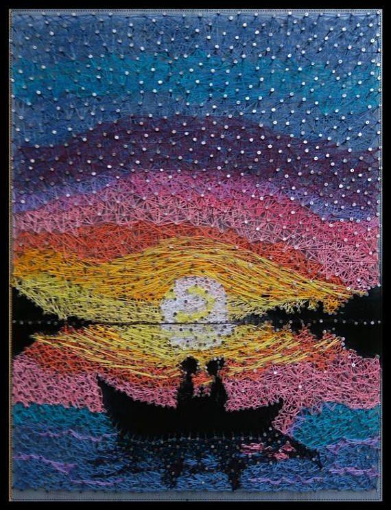 String Art wall art nature wood art moon river romantic decoration sky night lovers