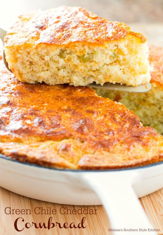 Green Chile Cheddar Cornbread -When it comes to house breads of the South,cornbread is neck-in-neck with buttermilk biscuits for first place. Truthfully there really is no contest as each are loved equally and tend to be favored depending on the meal being served. Cornbread goes particularly well with a simple bowl of pinto beans, a cozy bowl of soup, stew or alongside an all vegetable plate.